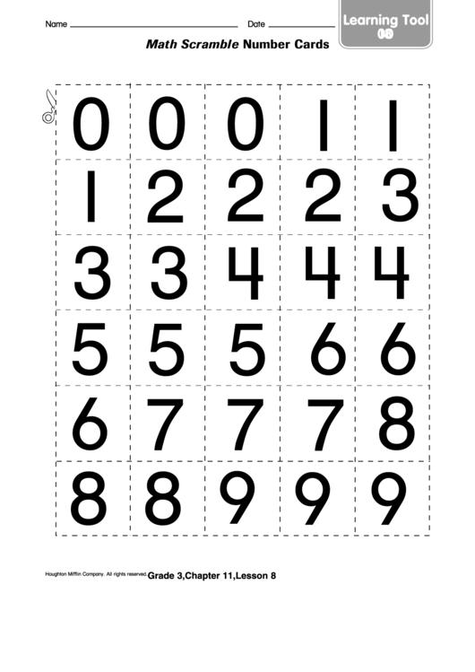 Math Scramble Number Cards Worksheet Printable pdf