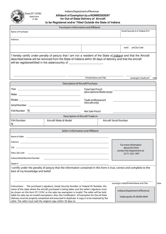 Form St-137ac - Affidavit Of Exemption By A Nonresident For Out-Of-State Delivery Of Aircraft To Be Registered And/or Titled Outside The State Of Indiana Printable pdf