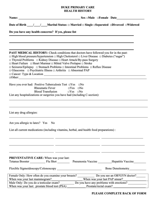 Medical History Form - Duke Health printable pdf download