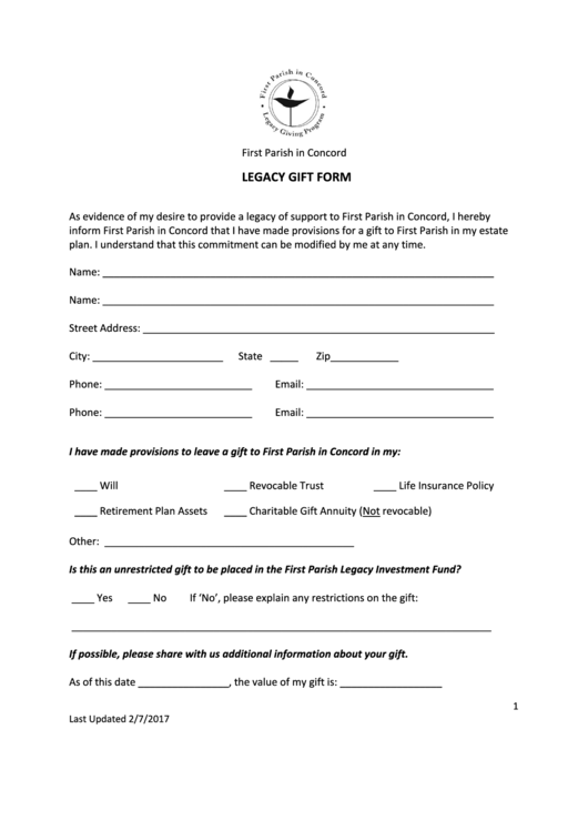 gifting letter templates legacy gift form first parish in concord