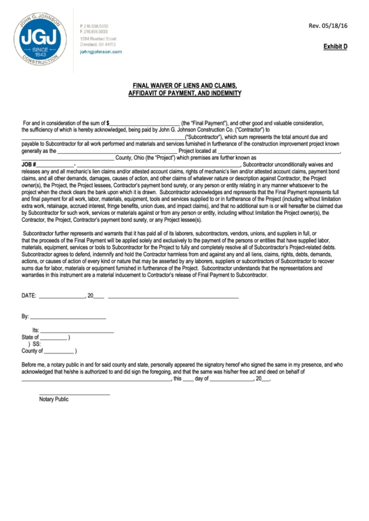 Final Waiver Of Liens And Claims, Affidavit Of Payment, And Indemnity - Jgj Final Waiver