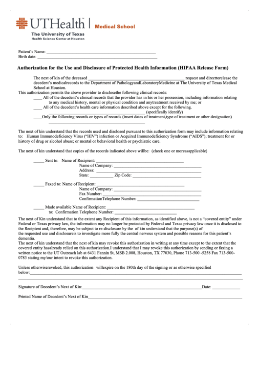 Hipaa Form - Authorization For The Use And Disclosure Of Protected Health Information - Medical School