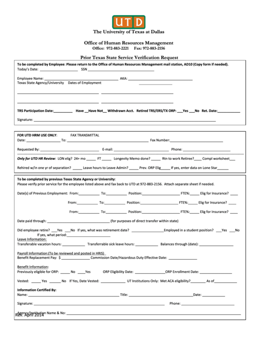 Prior State Service Verification Request Form