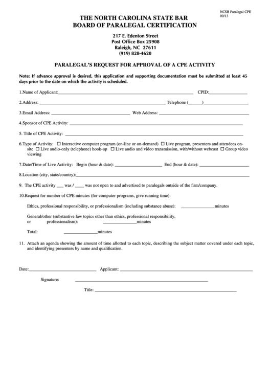 paralegal form cpe activity approval request printable