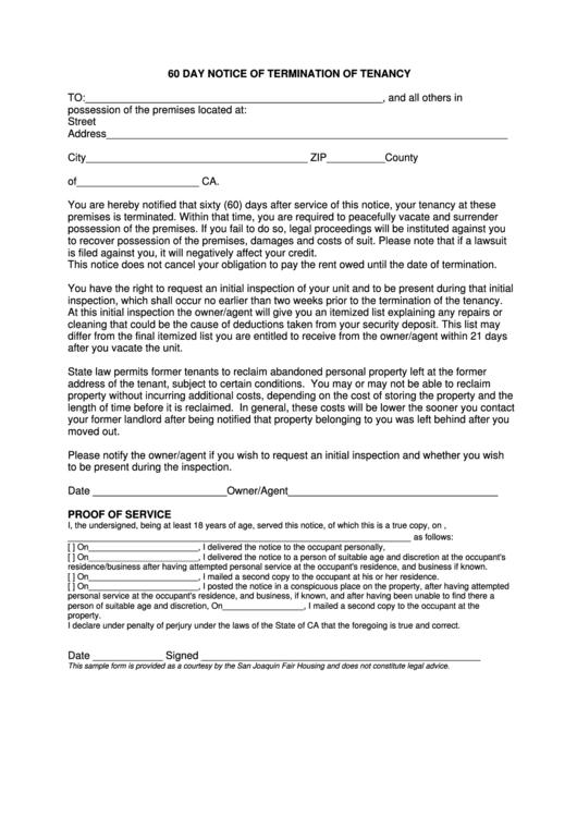 60 day notice of termination of tenancy form printable pdf