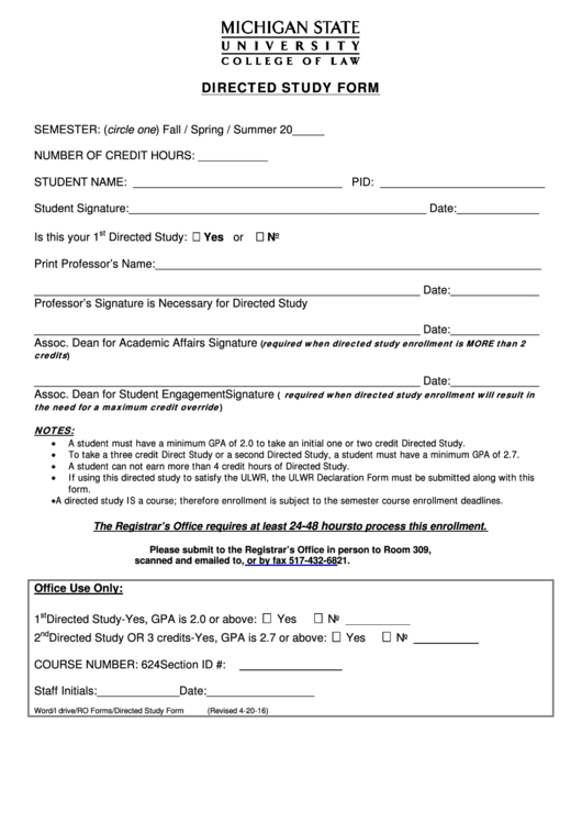Directed Study Form