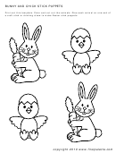 Bunny And Chick Stick Puppets Template