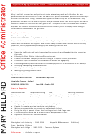 Office Administrator Resume Template Sample