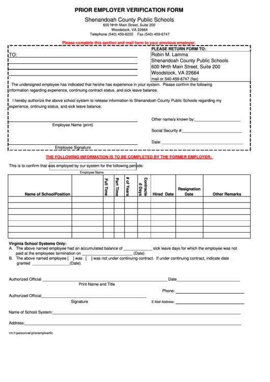 Prior Employment Verification Form  Prior Employment Verification Form