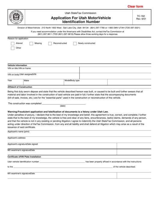 Fillable Form Tc-162 - Application For Utah Motor Vehicle Identification Number - 2001 Printable pdf