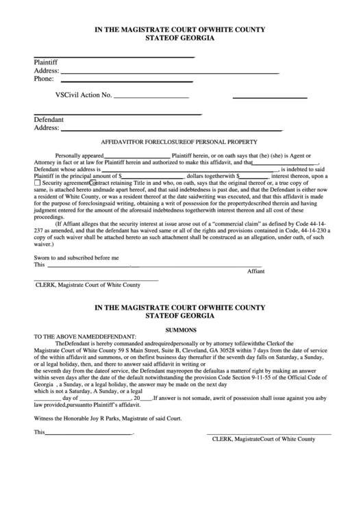 fillable affidavit for foreclosure of personal property