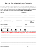 Summer Camp Special Needs Application Form