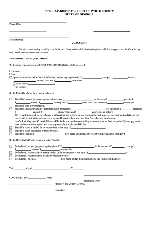 Fillable Judgment Form State Of Georgia Printable Pdf