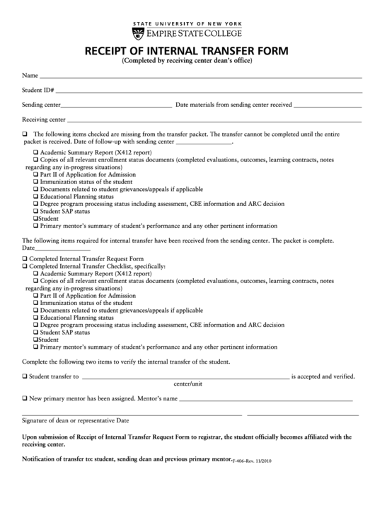 Form F-406 - Receipt Of Internal Transfer Form