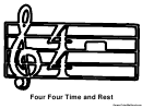 Four Four Time And Rest Music Coloring Sheet