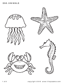 Sea Animals Coloring Sheet