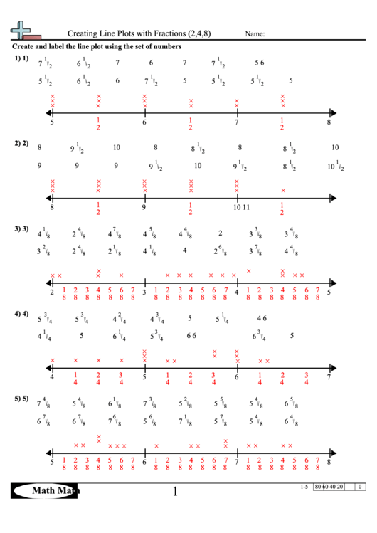 Creating Line Plots With Fractions (2,4,8) Worksheet Printable pdf