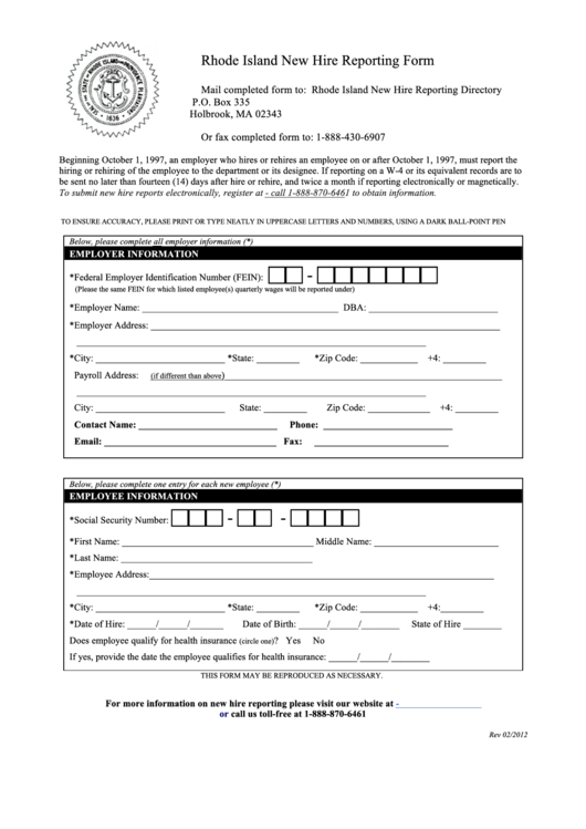 Rhode Island New Hire Reporting Form