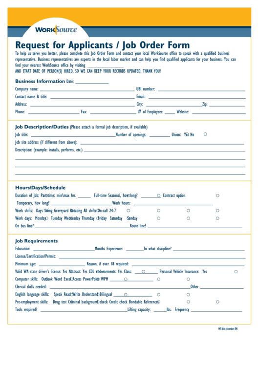 Request For Applicants / Job Order Form