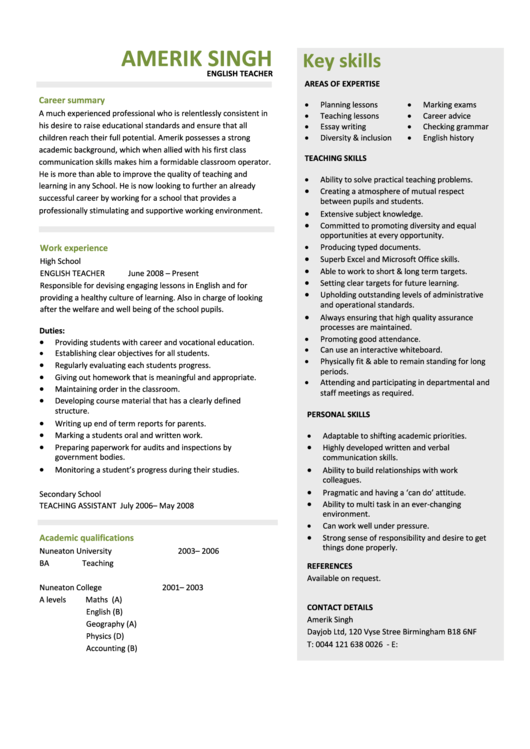 English Teacher Resume Template Printable pdf