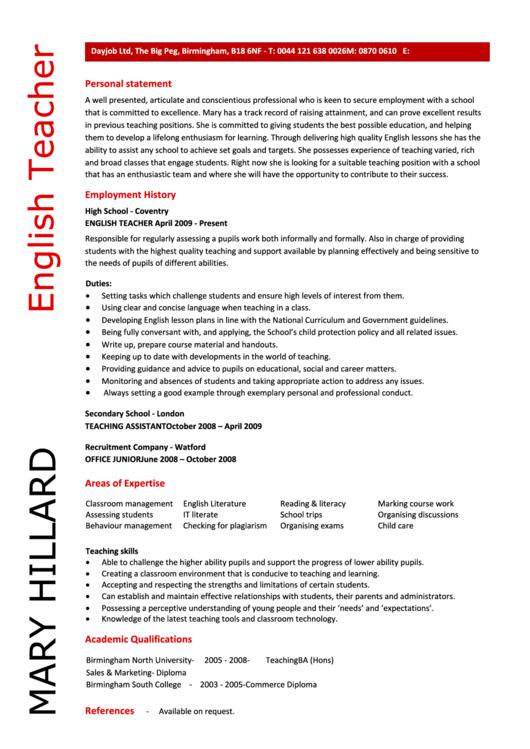 English Teacher Resume Sample Form Printable pdf
