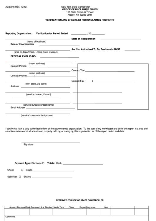 Form Ac2709 - Verification And Checklist For Unclaimed Property Printable pdf