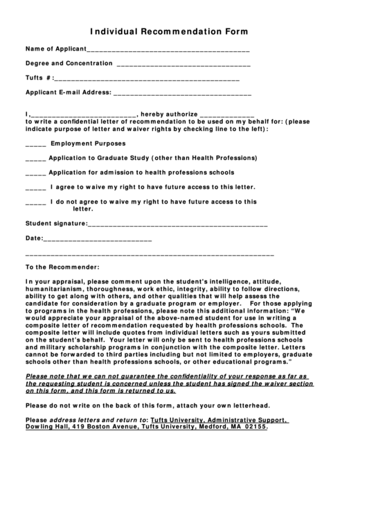 Individual Recommendation Form