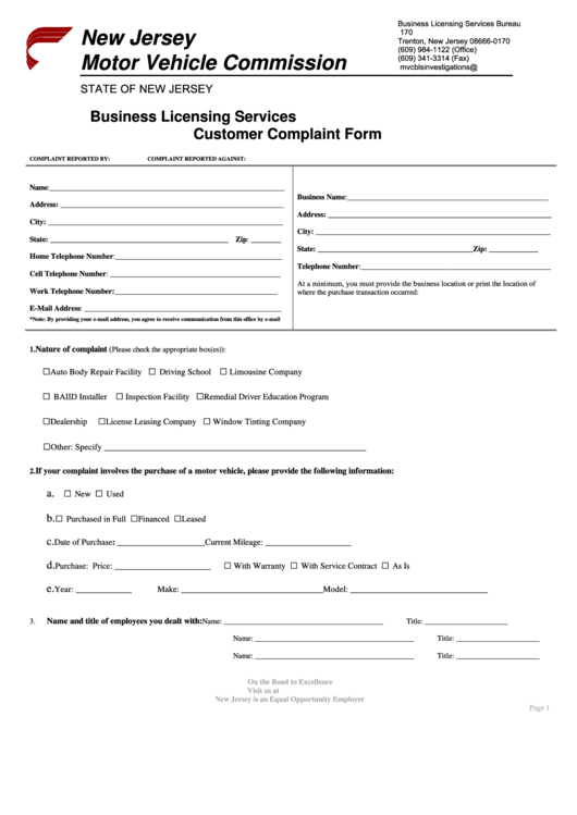 Business Licensing Services Customer Complaint Form