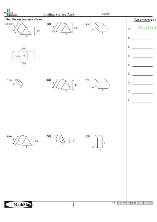 Finding Surface Area Worksheet With Answer Key Printable