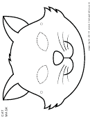 Cat Mask Coloring Template