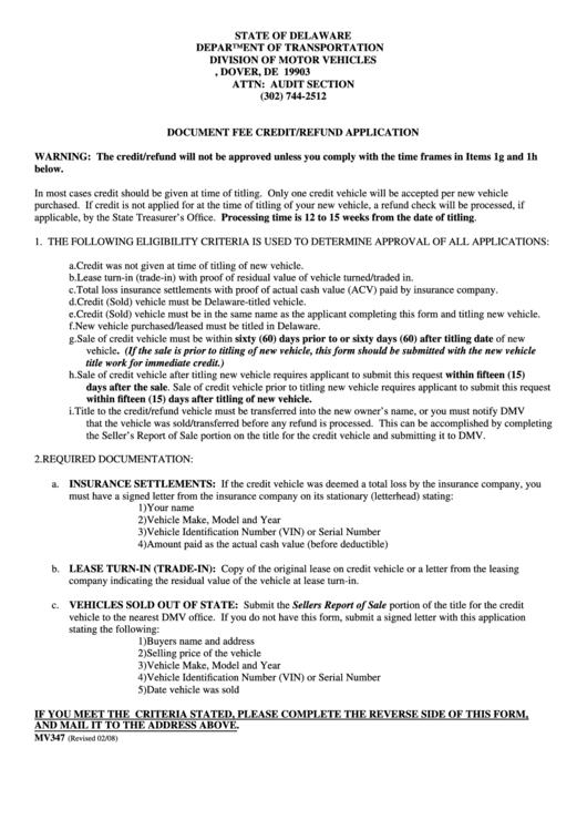 fillable form mv347 document fee credit refund application printable pdf download. Black Bedroom Furniture Sets. Home Design Ideas