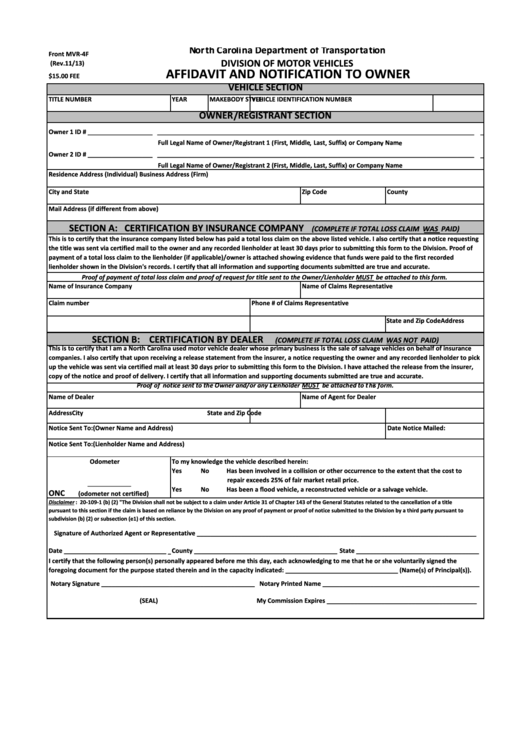 Fillable Form Mvr 4f Affidavit And Notification To Owner