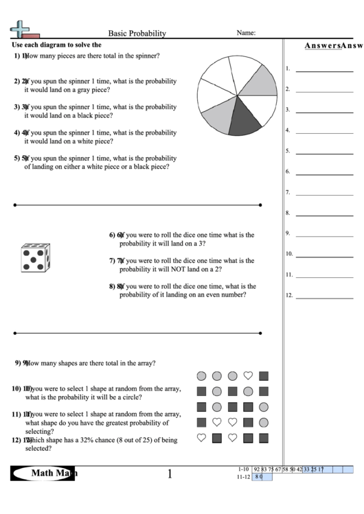 basic probability worksheet with answer key page 2 of 20