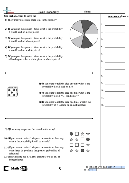 basic probability worksheet with answer key printable pdf download. Black Bedroom Furniture Sets. Home Design Ideas