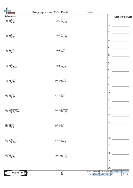 'Using Square And Cube Roots' Math Worksheet printable pdf ...