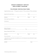 Telephone Verification Form - Senior Community Service Employment Program