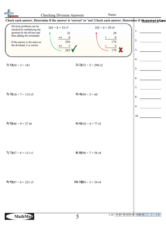 Checking Division Answers Math Worksheet With Answer Key Printable pdf