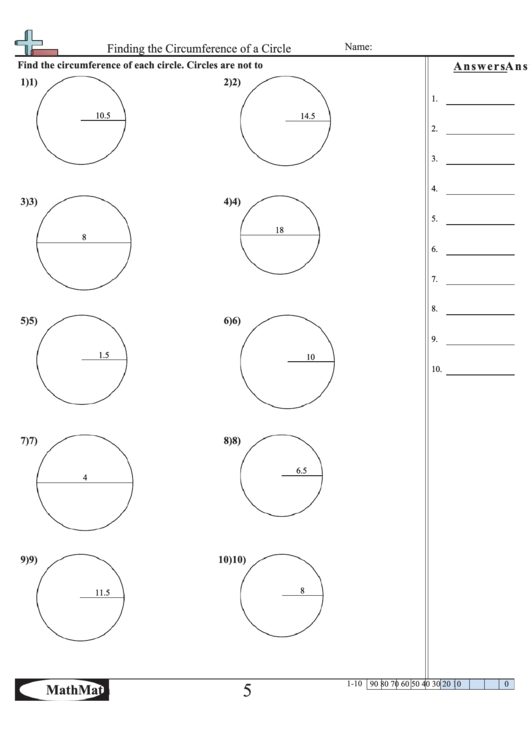 Finding The Circumference Of A Circle Math Worksheet With ...