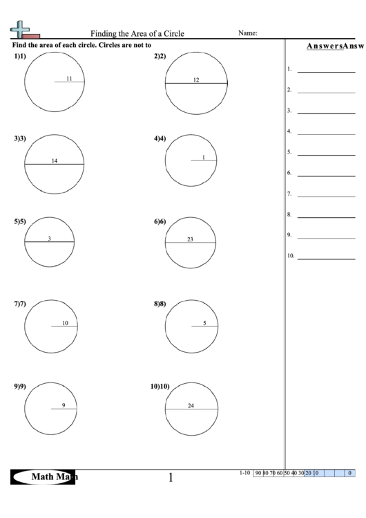 finding the area of a circle math worksheet with answer key printable pdf download. Black Bedroom Furniture Sets. Home Design Ideas
