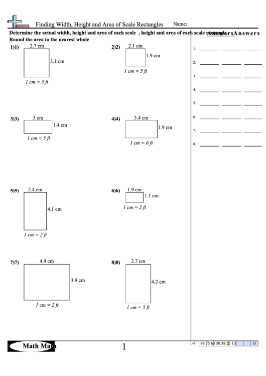 Finding Width Height And Area Of Scale Rectangles Math Worksheet