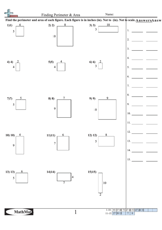 Finding Perimeter & Area Math Worksheet With Answer Key ...
