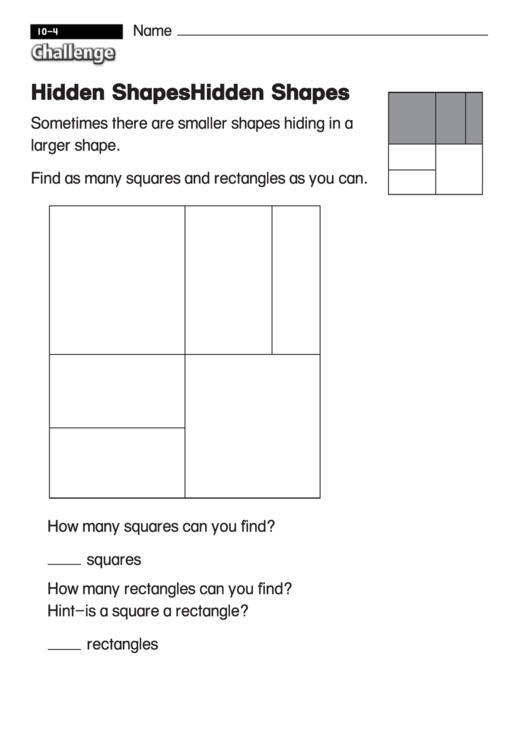 Hidden Shapes - Challenge Math Worksheet With Answer Key ...
