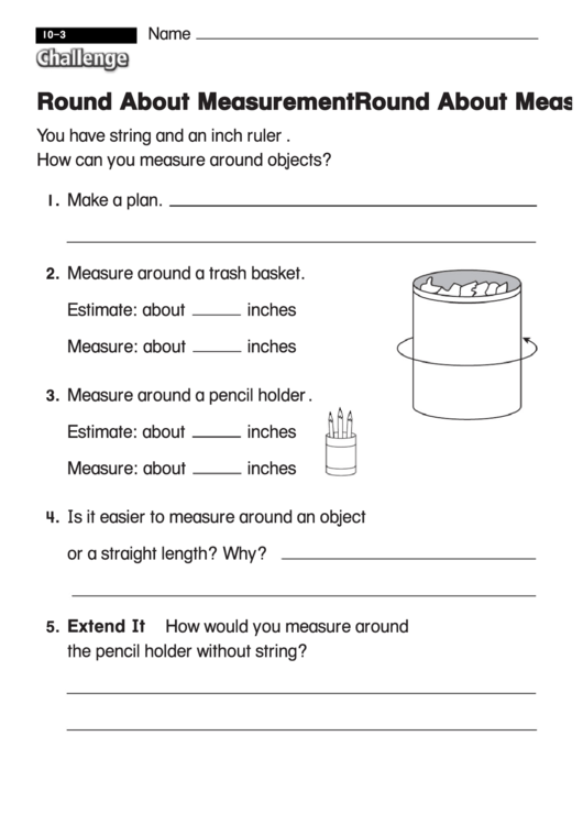 Round About Measurement - Challenge Math Worksheet With ...