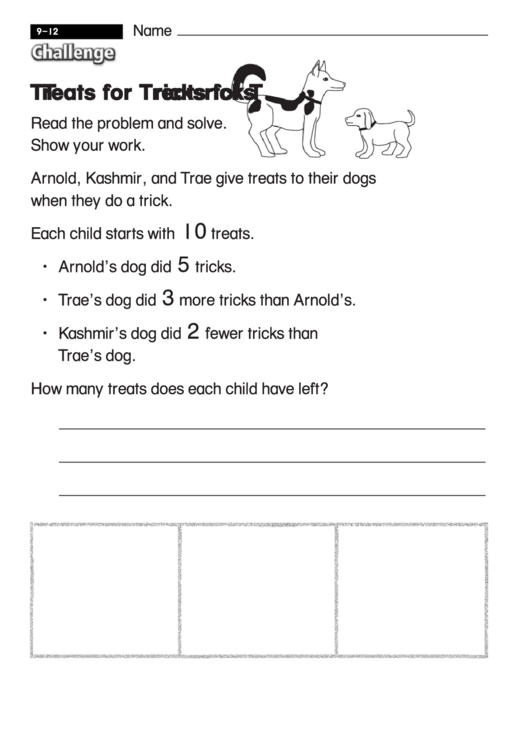 Treats For Tricks - Challenge Math Worksheet With Answer Key