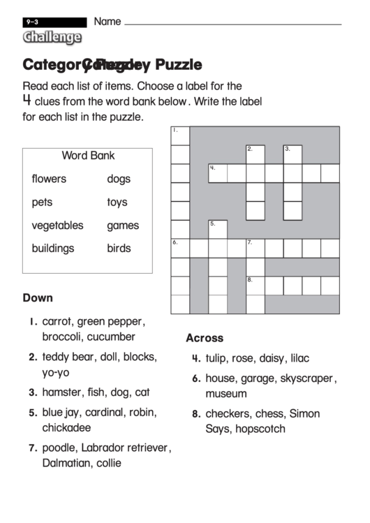 Category puzzle challenge puzzle worksheet with answer key category puzzle challenge puzzle worksheet with answer key ibookread Download