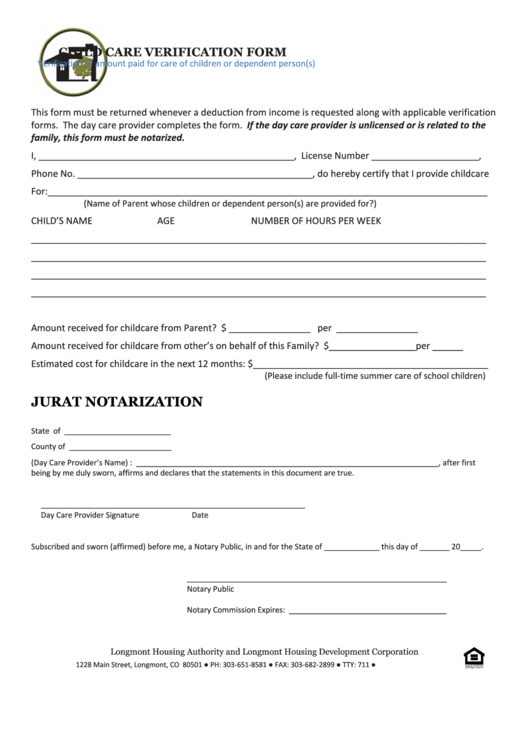 Top Child Care Verification Form Templates free to download in PDF ...