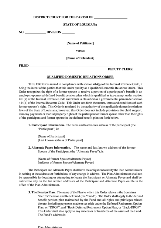 Qualified Domestic Relations Order - State Of Louisiana District Court