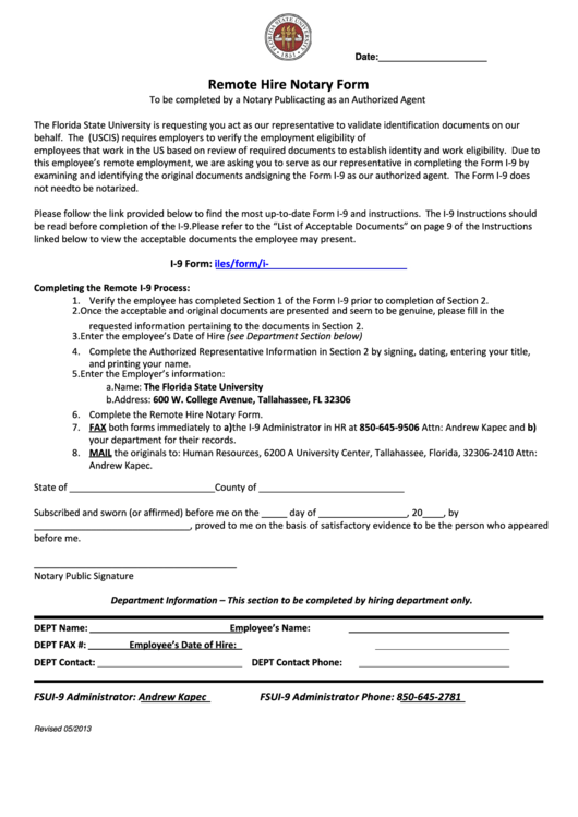 Remote Hire Notary Form Printable pdf
