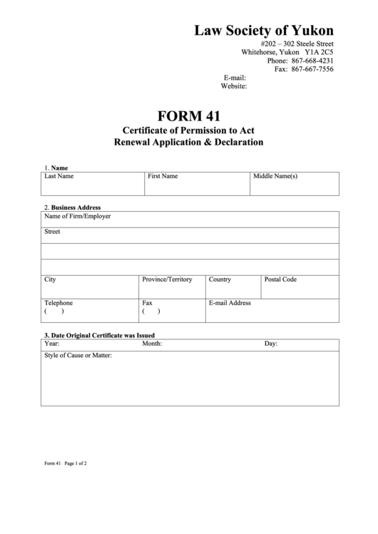 Form 41 - Certificate Of Permission To Act Renewal Application & Declaration