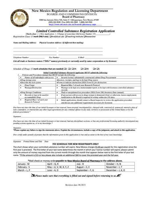 Limited Controlled Substance Registration Application